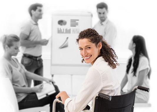women in a meeting looking behind her